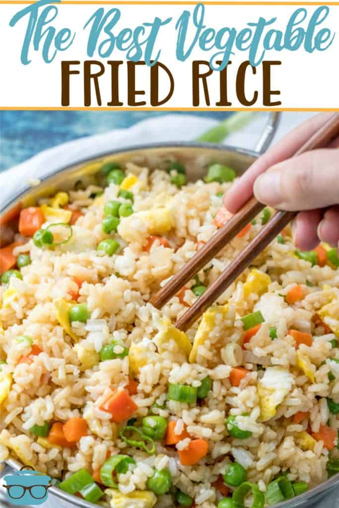 The Best Vegetable Fried Rice recipe from The Country Cook, pictured in a large skillet and chopsticks