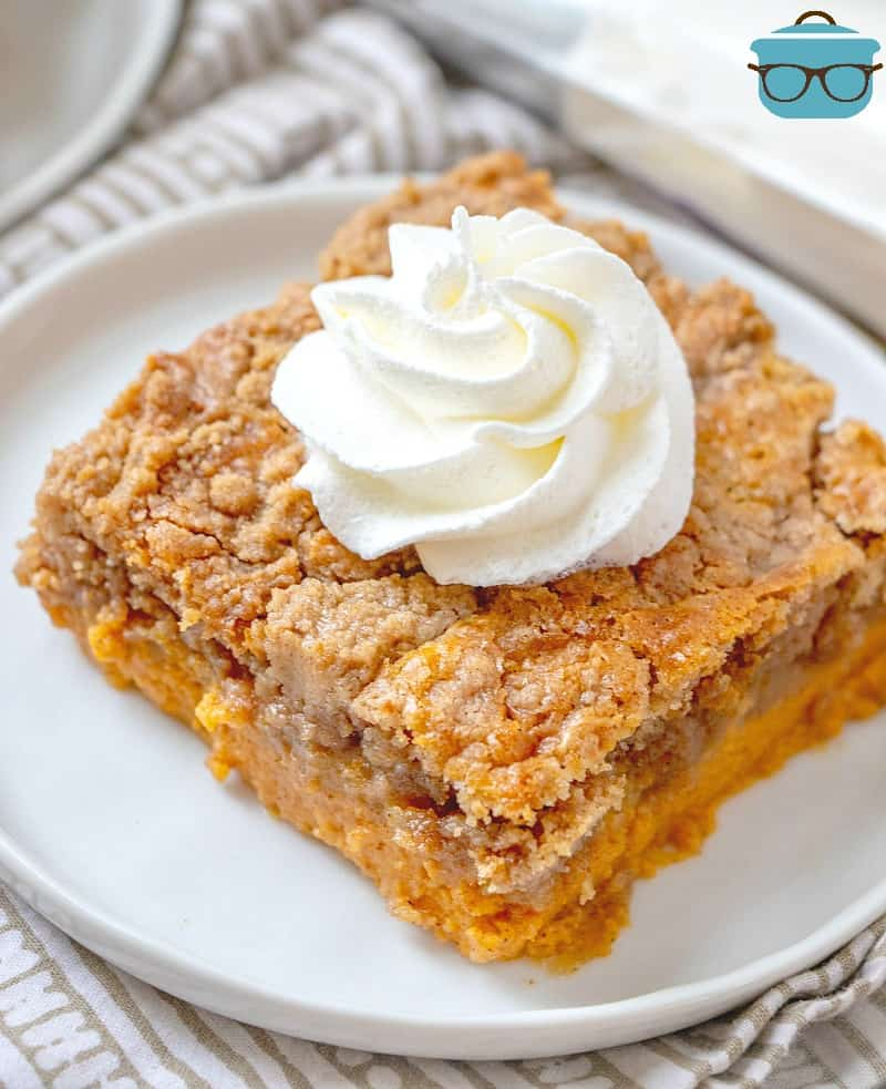 slice, Pumpkin Dump Cake on a white plate topped with whipped cream.