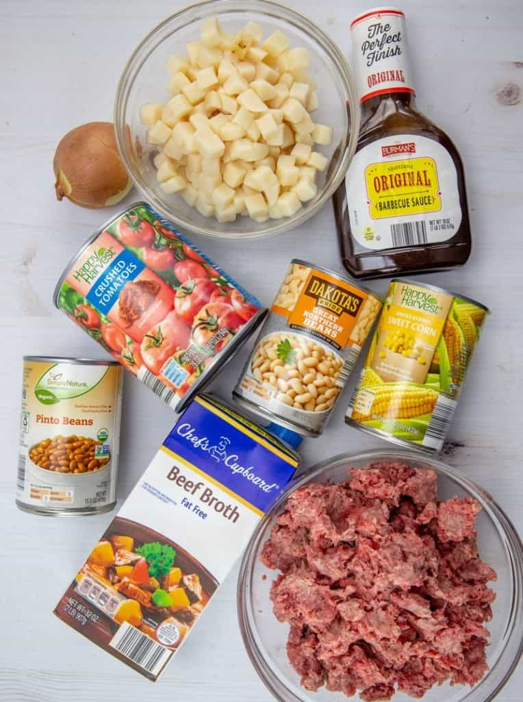 ground beef, onion, crushed tomatoes barbecue sauce potatoes, canned corn, canned northern beans, canned pinto beans, beef broth