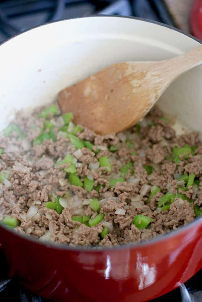 cooked ground beef, onions and green peppers