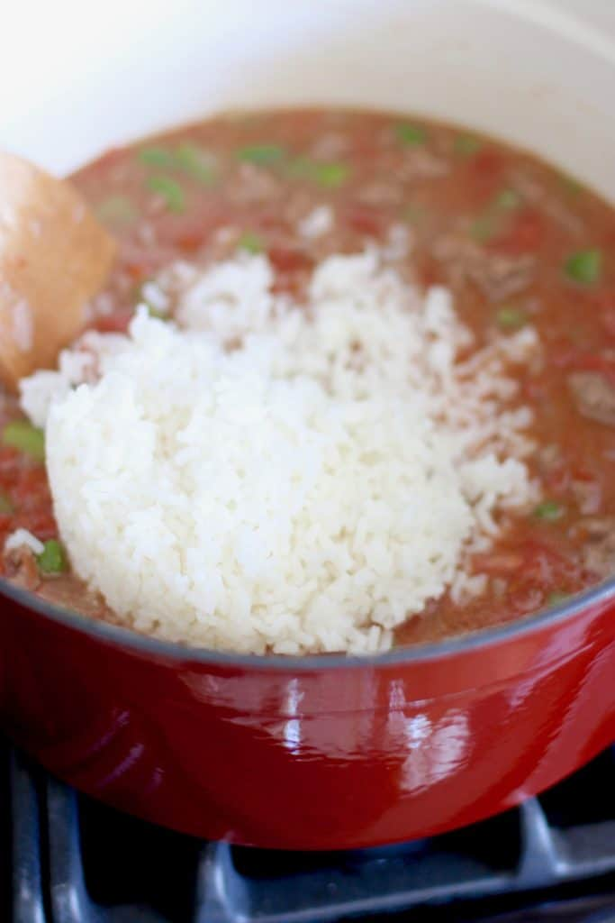 cooked rice added to stuffed pepper soup
