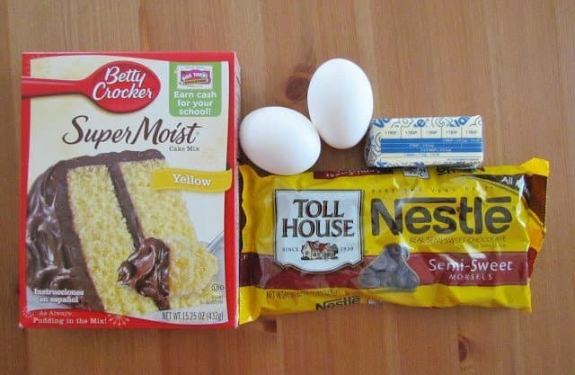 yellow cake mix, chocolate chips, butter, eggs
