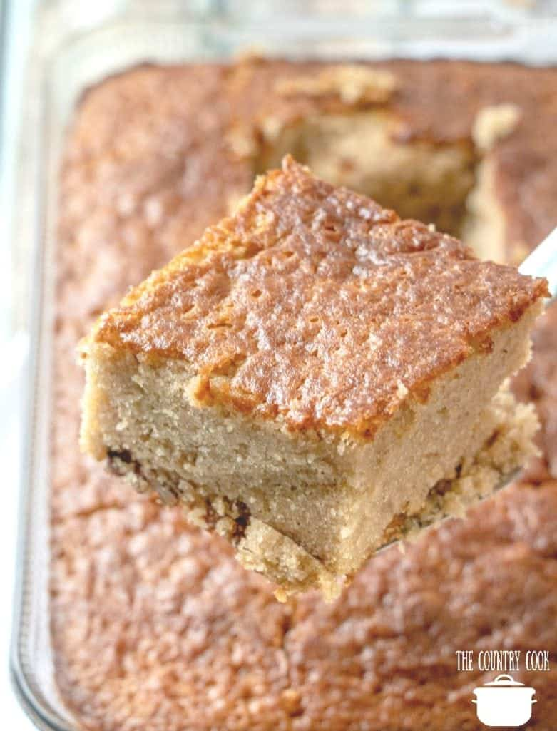 Southern Pecan Praline Cake with Butter Sauce, slice