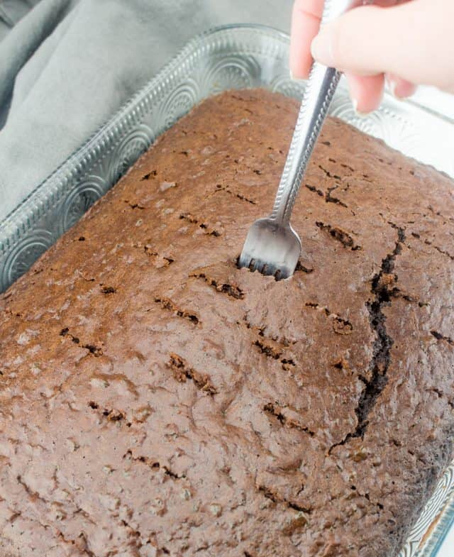 Poke Holes in baked chocolate cake