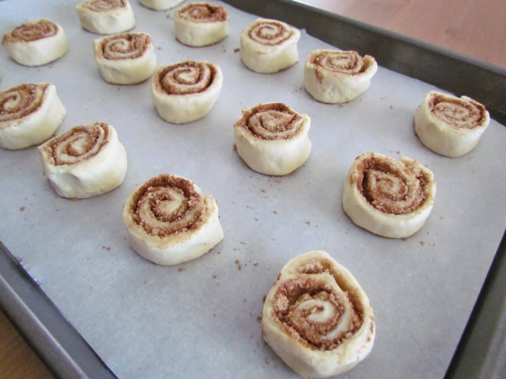 cinnamon rolls placed on a parchment lined cookie sheet