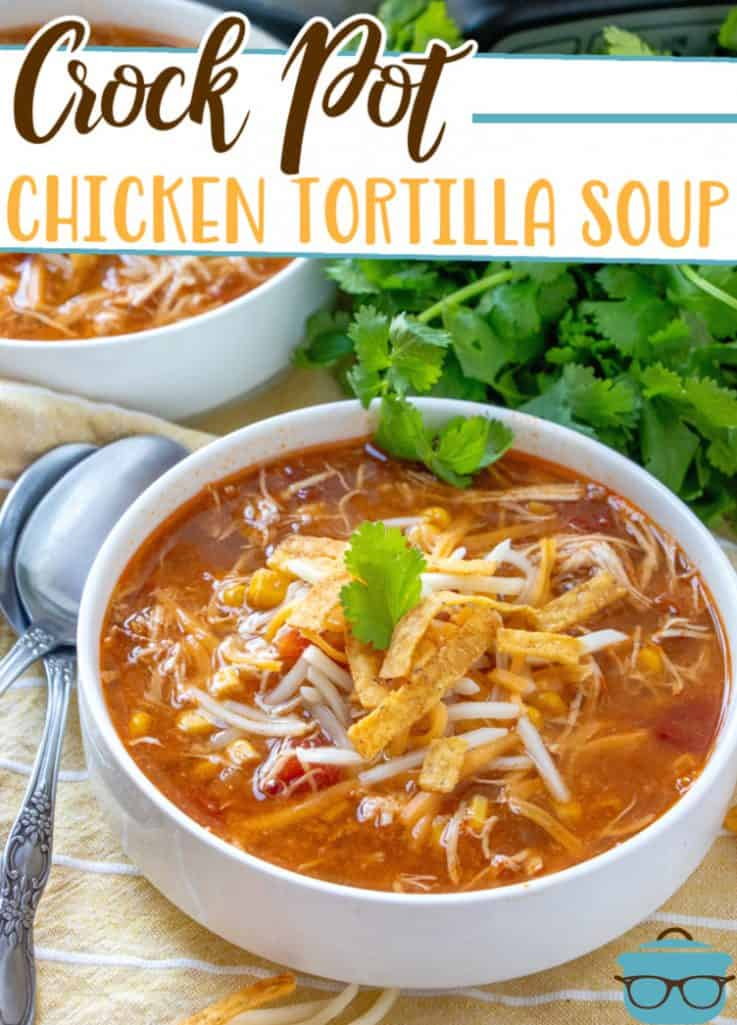 The Best Crock Pot Chicken Tortilla Soup recipe from The Country Cook, shown served in a white bowl with fresh parsley in the background