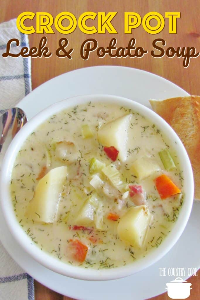 Crock Pot Leek and Potato Soup recipe from The Country Cook