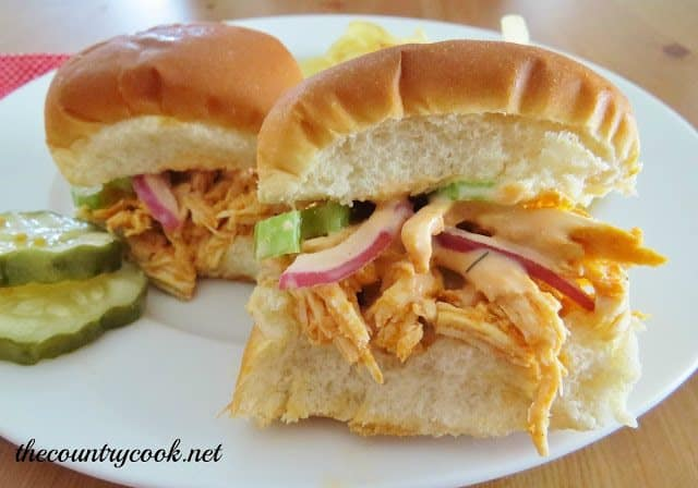 Crock Pot Buffalo Chicken Sliders with Ranch Celery Slaw | The