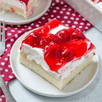 Cherries in the Snow Pudding Poke Cake recipe