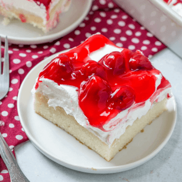 Cherries in the Snow Pudding Poke Cake recipe