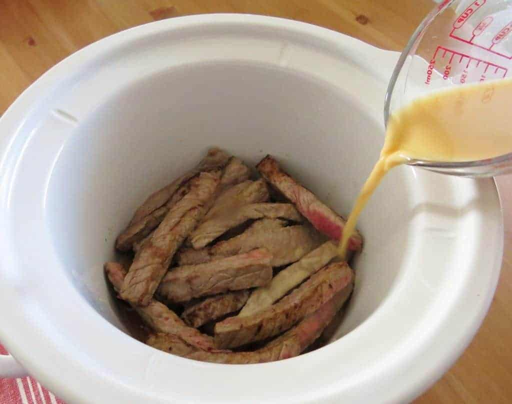corn starch slurry and beef strips