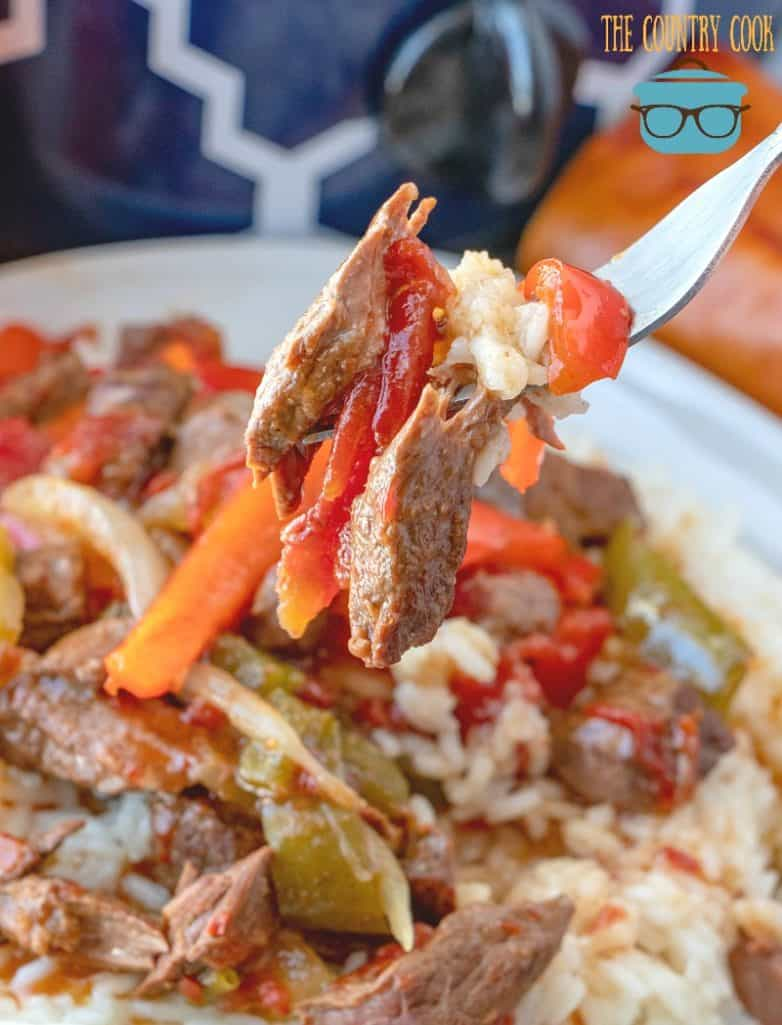 Crock Pot Pepper Steak, forkful