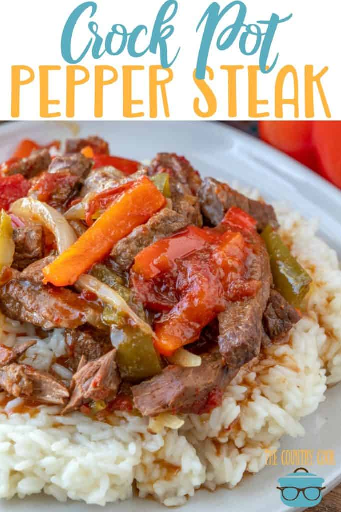 Crock Pot Pepper Steak recipe from The Country Cook #slowcooker #dinner