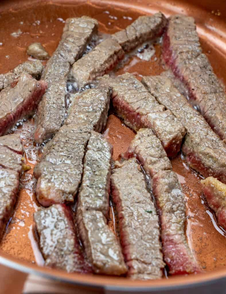 browned beef in oil