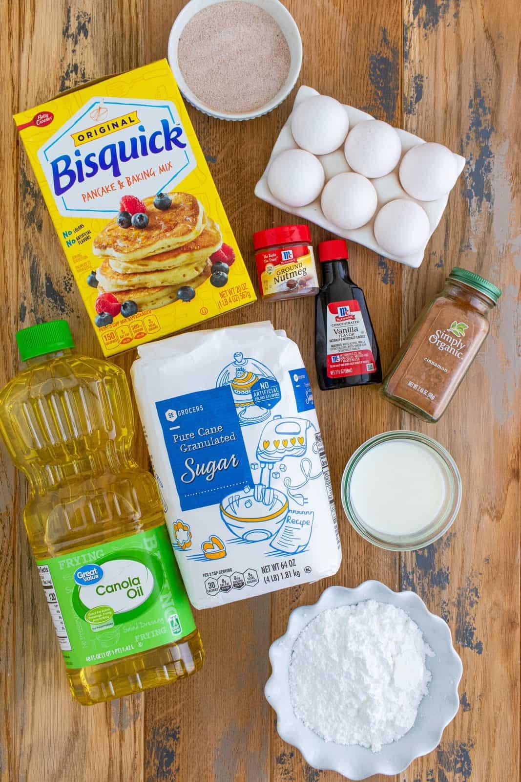 pancake mix sugar ground cinnamon ground nutmeg eggs milk oil powdered sugar vanilla extract.