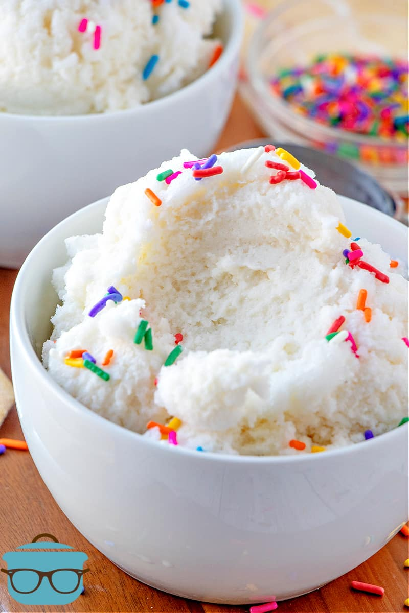 Homemade Snow Cream shown scooped into a bowl