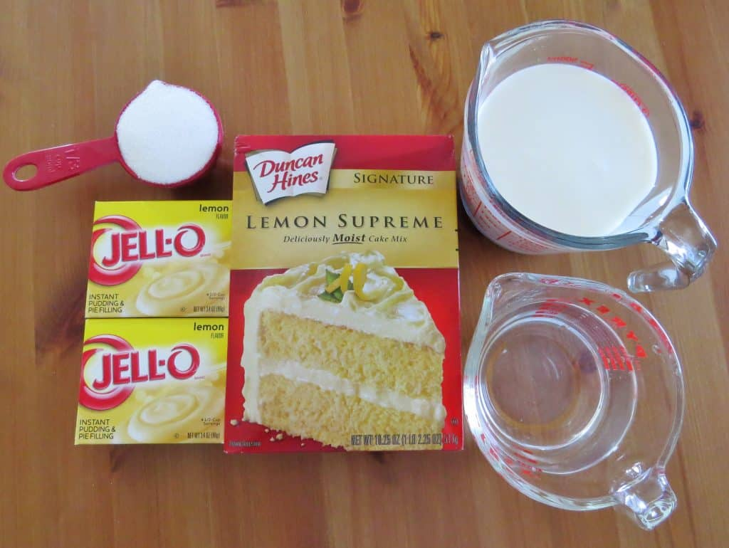 lemon cake mix, instant lemon pudding, sugar, cold milk, water, powdered sugar
