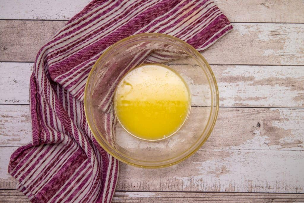 melted butter in a glass bowl