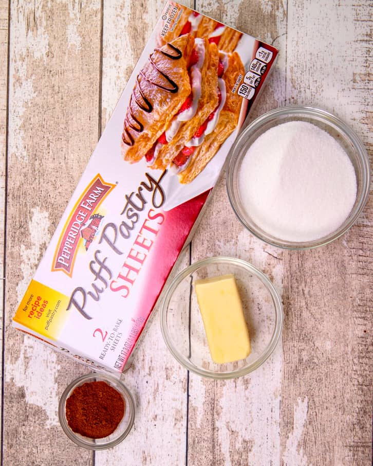 ingredients needed for baked churros: puff pastry, unsalted butter, sugar, ground cinnamon