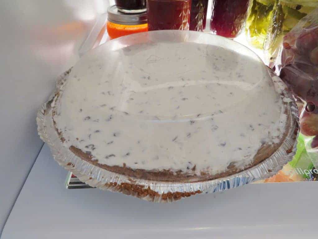 cheesecake cooling in the refrigerator