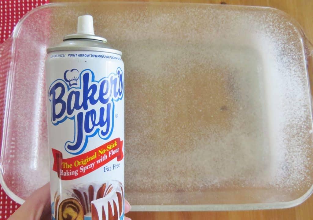 baker's joy nonstick baking spray on a Pyrex baking dish