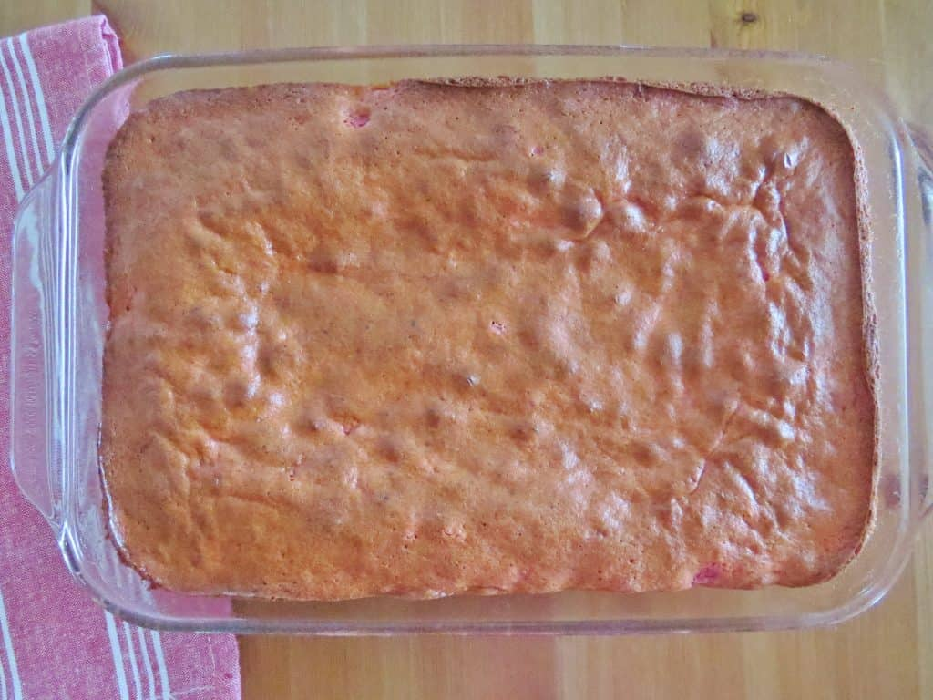 baked strawberry cake in dish
