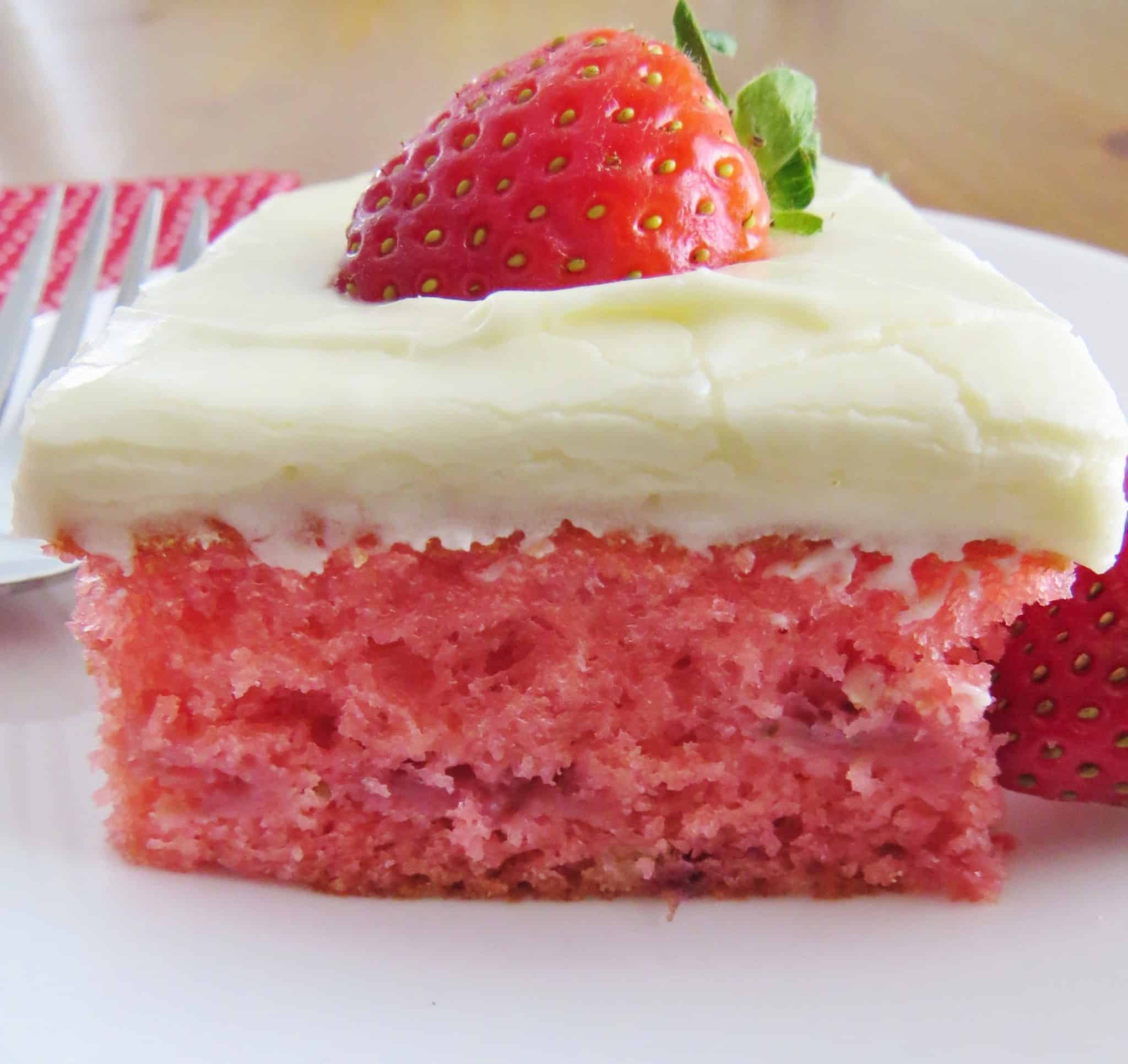 Strawberry Cake With Jello And Whipped Cream