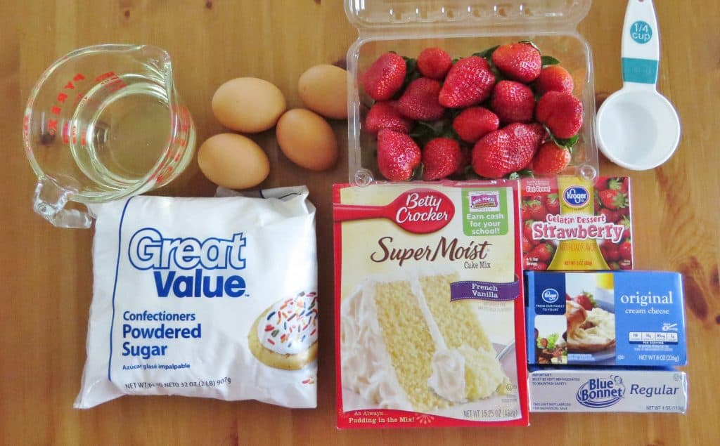pictured ingredients: French Vanilla Cake mix, fresh strawberries, strawberry gelatin, cream cheese, margarine, eggs, oil and water