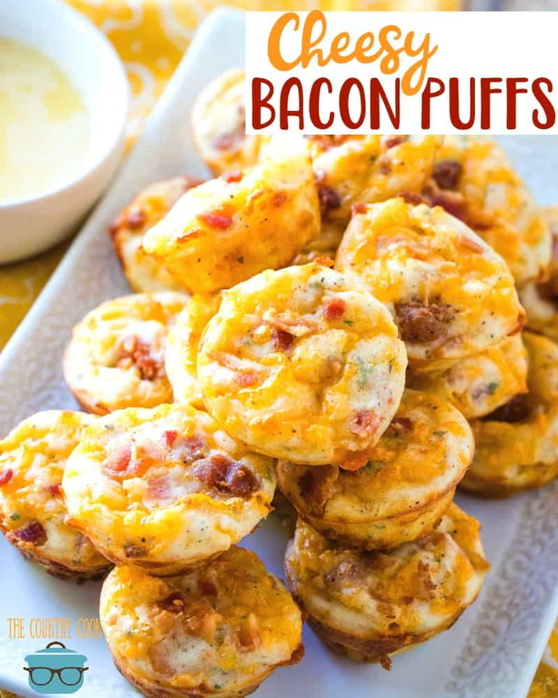 Cheesy Bacon Puffs recipe from The Country Cook #appetizer #breakfast