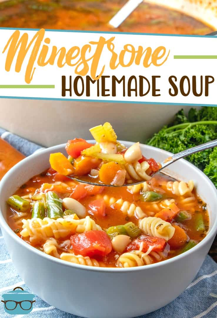 This easy homemade Minestrone Soup is full of vegetables, pasta and a rich, flavorful tomato-based broth. Perfect for freezing too!