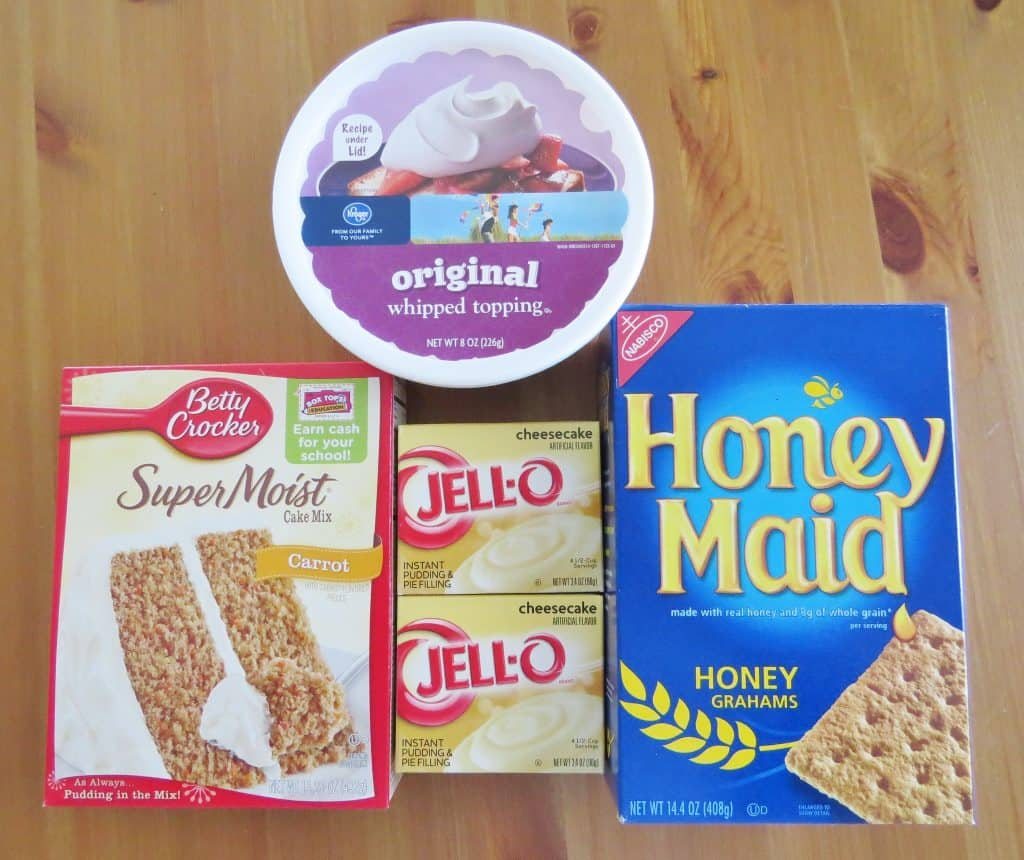 carrot cake mix, cheesecake pudding, COOL WHIP, graham crackers