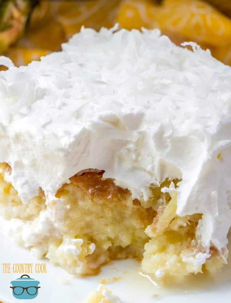 slice, Pineapple Coconut Poke Cake