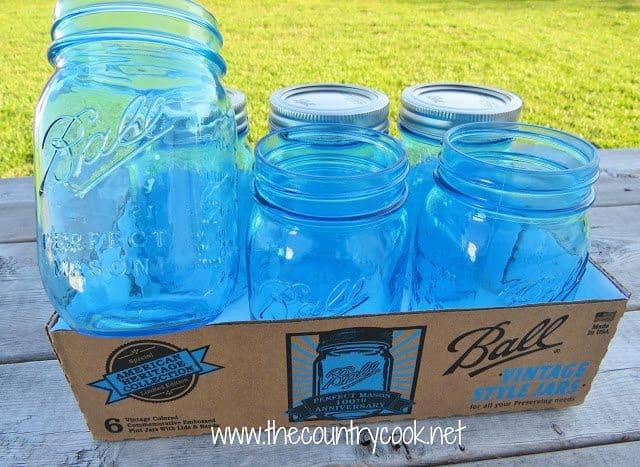 Blue Vintage Style Ball Mason Jars