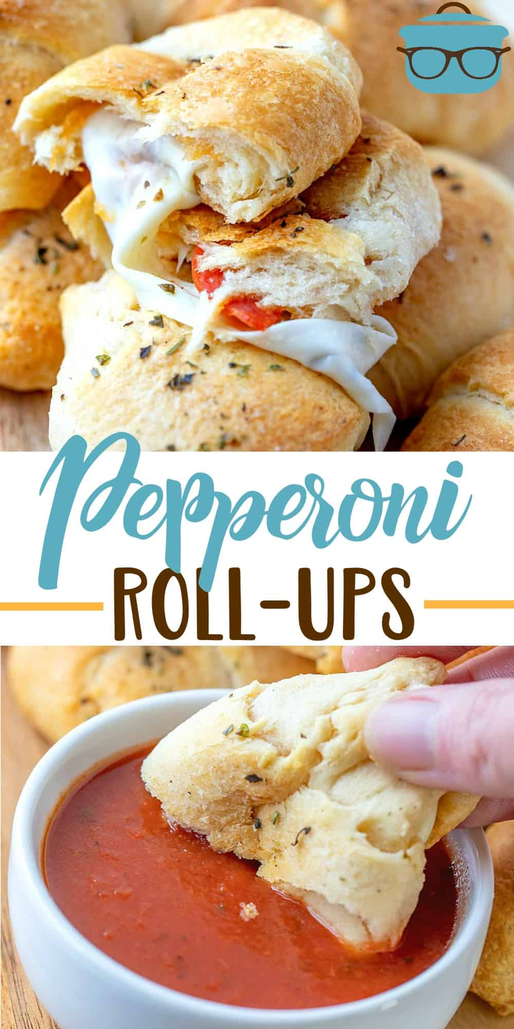 These Crescent Pepperoni Roll-Ups are crescent rolls stuffed with mozarella cheese sticks, pepperoni and topped with garlic butter! #appetizer #pepperonirollups