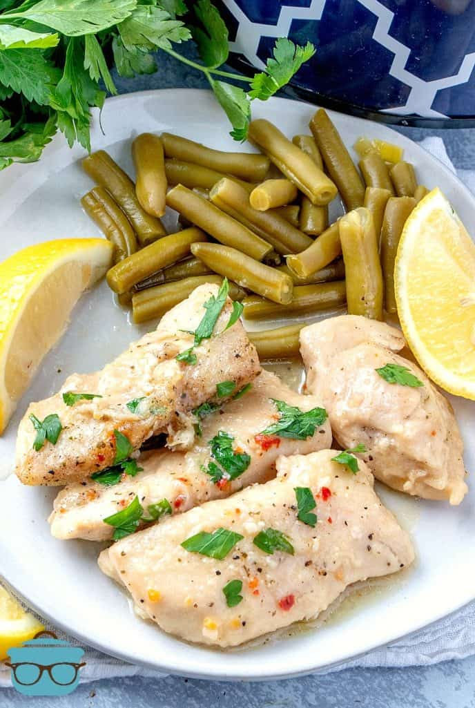 Slow Cooker Lemon Garlic Chicken recipe served with green beans