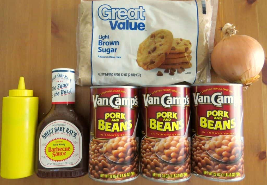 cans of pork and beans, light brown sugar, diced onion, barbecue sauce, mustard and bacon
