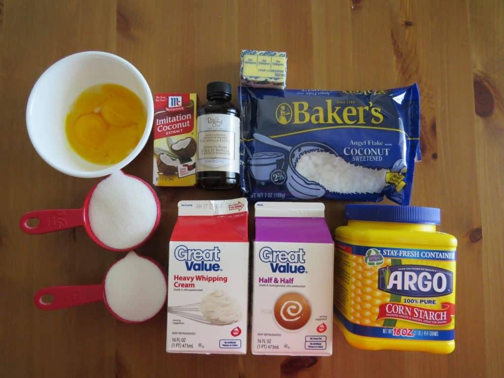 heavy cream, eggs, sweetened flake coconut, butter, vanilla, sugar, corn starch, vanilla extract