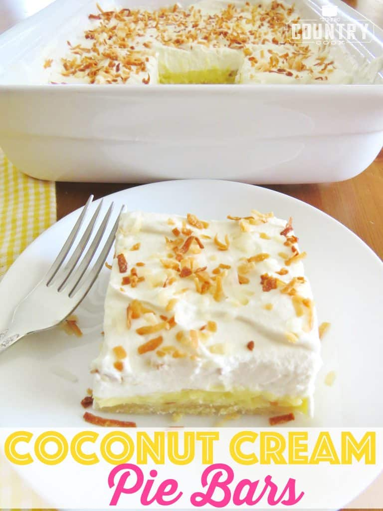 Coconut Cream Pie Bars recipe from The Country Cook