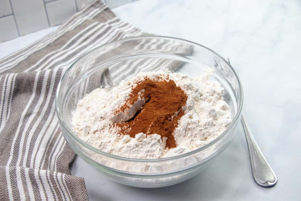 brown sugar, flour and cinnamon in a medium glass bowl