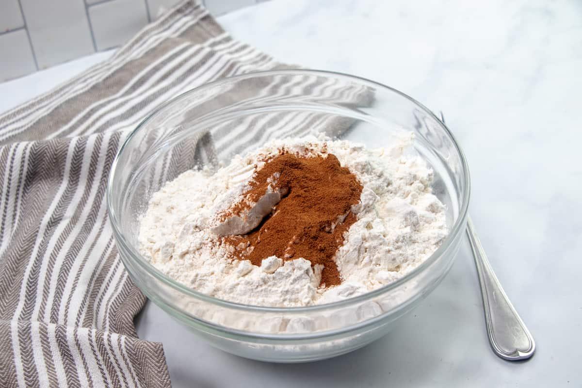 brown sugar, flour and cinnamon in a medium glass bowl