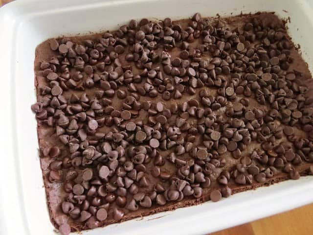 chocolate chips on top of brownie batter