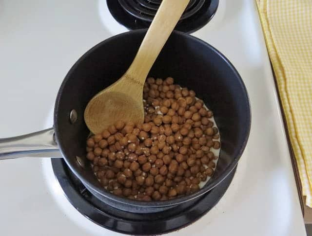 caramel bits mixed with evaporated milk