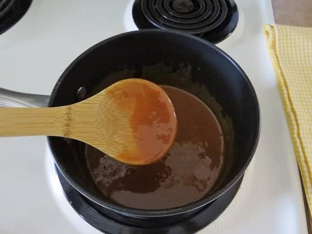 melted caramel in a sauce pan
