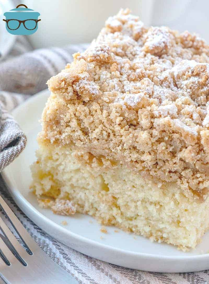 Homemade Double Crumb Cake, slice on a white plate