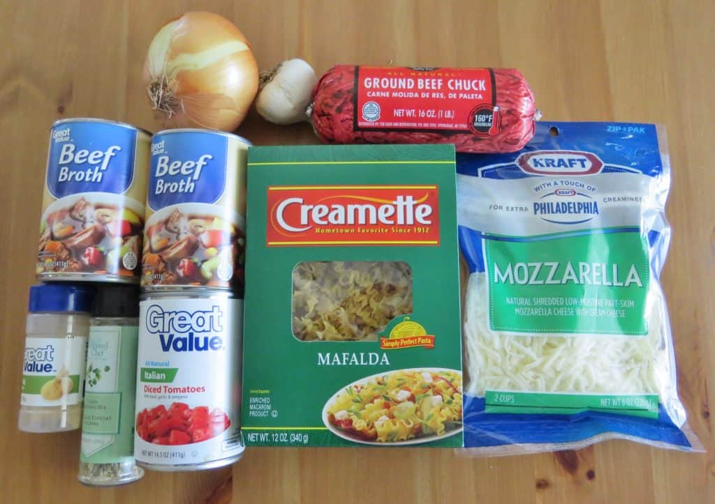 mafalda pasta, beef broth, ground beef, mozzarella cheese, beef broth, Italian diced tomatoes, onion, garlic, Italian seasoning