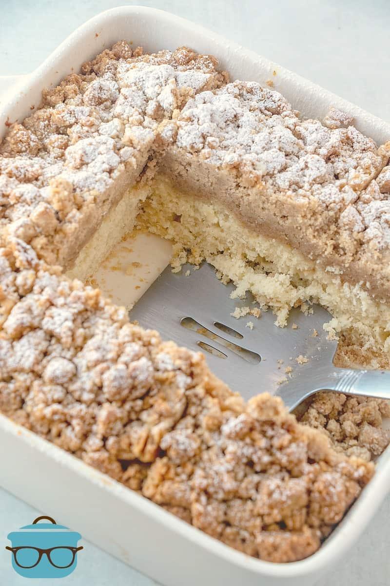 sliced double crumb cake