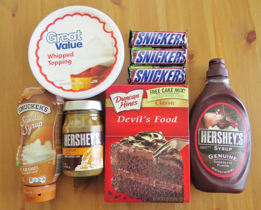 devil's food cake mix (ingredients needed to make cake, eggs, oil & water) caramel ice cream topping Snickers candy bars, whipped topping, chocolate and caramel syrup