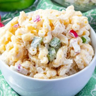 Mom's Macaroni Salad served in a white bowl