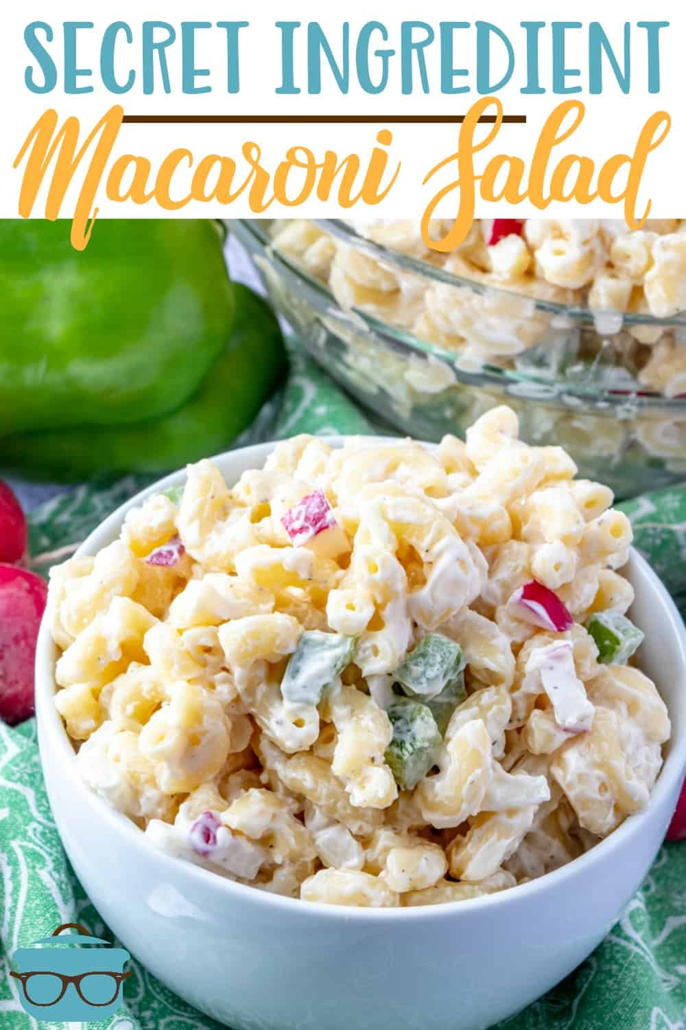 The Best Macaroni Salad recipe starts with macaroni noodles, peppers, onions and rasishes and is mixed with a secret-ingredient creamy dressing! #macaronisalad #sidedish