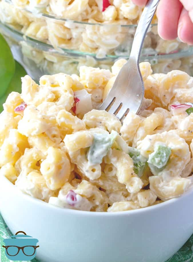Mom's Best Macaroni salad in a bowl with a fork
